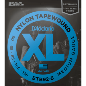 D'Addario Black Nylon Tapewound 5-String Bass Guitar String Set, Flatwound, ETB92-5 Medium .050-.135