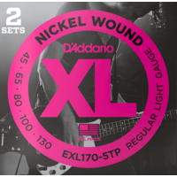D'Addario XL Bass Twin Pack String Sets, Nickel, EXL170-5TP Light .045-.130
