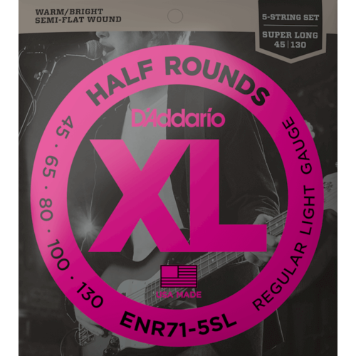 D'Addario D'Addario XL Half Round 5-String Bass Guitar Set, Regular Light .045-.130