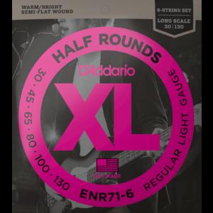D'Addario XL Half Round 6-String Bass Guitar Set, Regular Light .030-.130 Long Scale