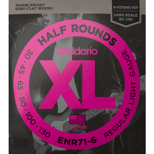 D'Addario D'Addario XL Half Round 6-String Bass Guitar Set, Regular Light .030-.130 Long Scale