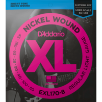 D'Addario XL 8-String Bass Guitar String Set, Nickel, EXL170-8 .018-.100