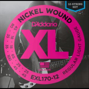 D'Addario XL 12-String Bass Guitar String Set, Nickel, EXL170-12 Light .018-.045
