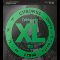 D'Addario Chromes Bass Guitar String Set, Flatwound