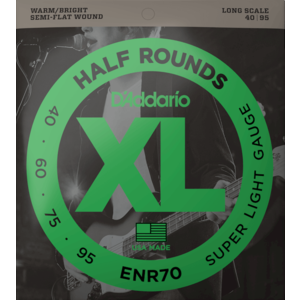 D'Addario XL Half Round Bass Guitar String Set