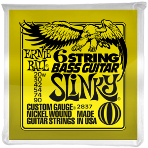 Ernie Ball 6-String Bass Guitar String Set, .020-.090, Short Scale for Fender VI Style Basses