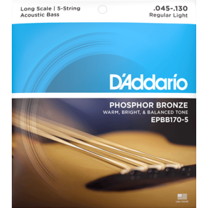 D'Addario 5-String Acoustic Bass String Set, Phosphor Bronze, EPBB170-5 .045-.130