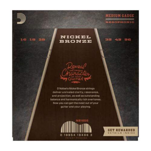 D'Addario D'Addario Nickel Bronze Acoustic String Set, Phosphor Bronze, Resophonic .016-.056