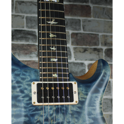 PRS PRS Wood Library Custom 24, 10 Top Quilted Maple, Faded Whale Blue Satin #245367