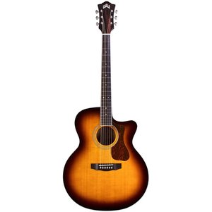 Guild F-250CE Deluxe Electro-Acoustic Jumbo Cutaway, Solid Sitka Spruce Top, Flamed Maple Back & Sides, Antique Burst