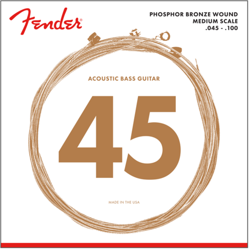 Fender Accessories Fender Acoustic Bass String Set, Phosphor Bronze, 7060 .045-.100, Medium Scale