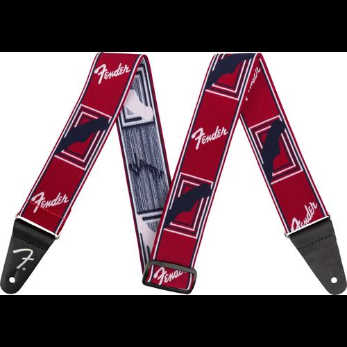 "Fender Accessories Fender Weighless Strap 2"" Monogrammed Strap, Red/White/Blue"