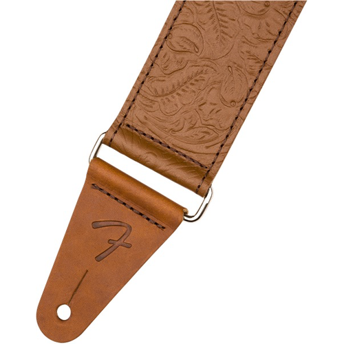 """Fender Accessories Fender Tooled 2"""" Leather Guitar Strap, Brown"""