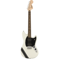 Squier FSR Bullet Competition Mustang HH, Arctic White with Black Stripes