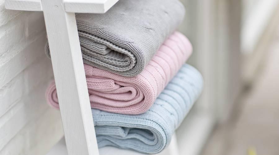 Crib Blanket cotton/wool Grey-2