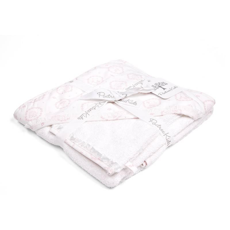 Cape de bain & gant de toilette Little Forest Pink-3