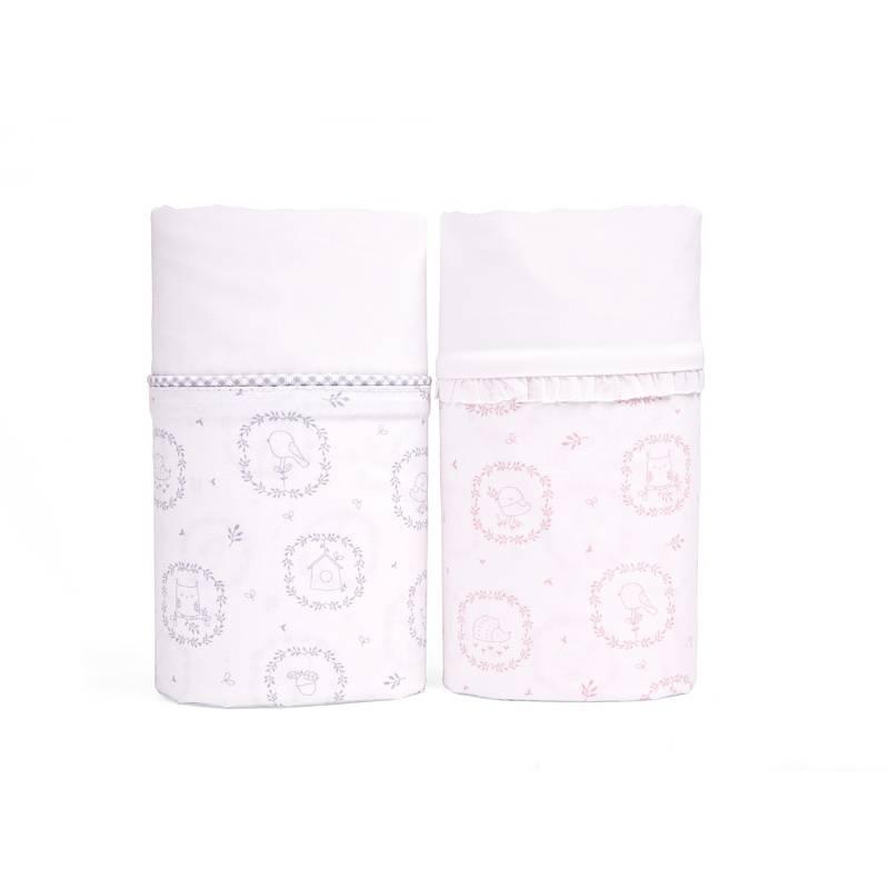 Drap de lit bébé Little Forest Pink-3