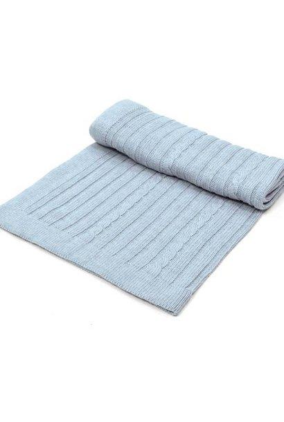 Crib Blanket cotton/wool Light Blue Melange