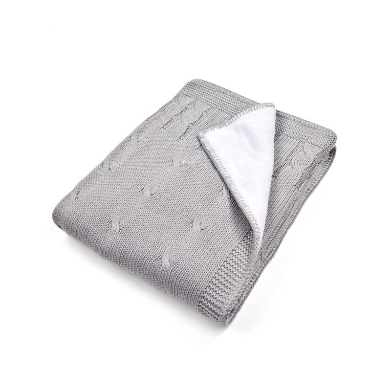 Ledikant deken gevoerd grijs-1