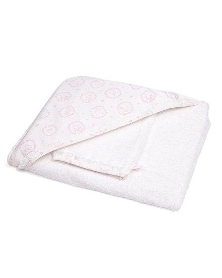 Cape de bain & gant de toilette Little Forest Pink-1