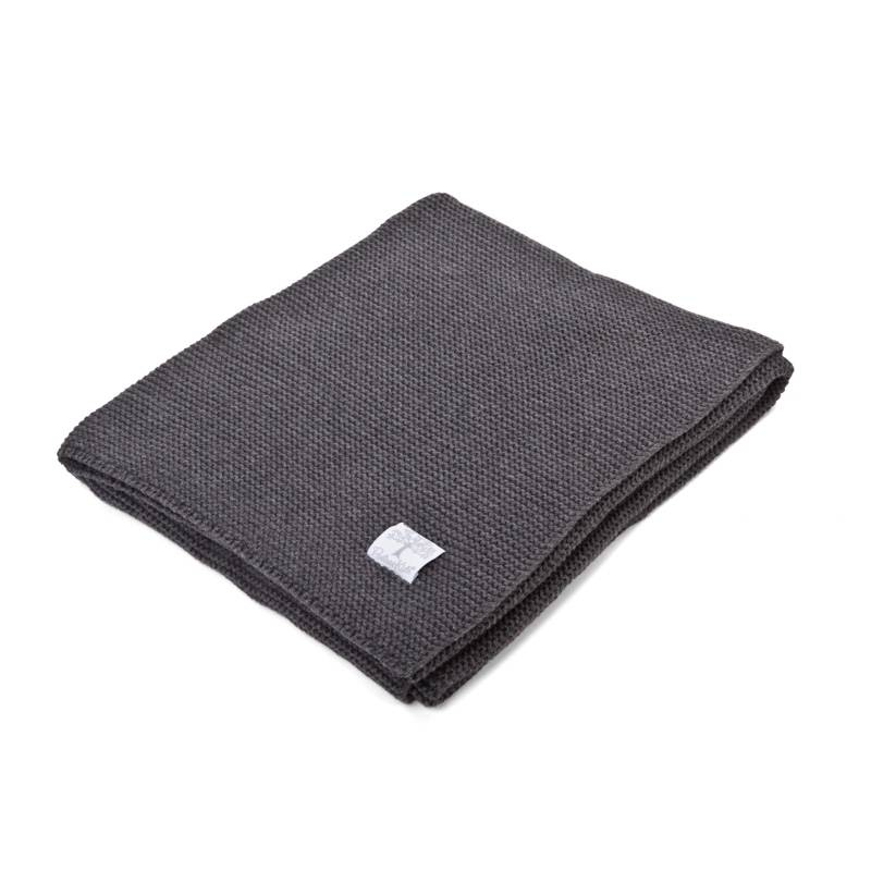Ledikant deken katoen  Dark grey melange-2