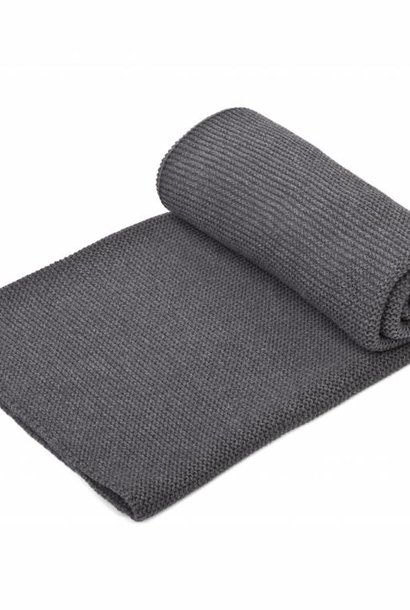 Knitted Crib Blanket Dark Grey Melange