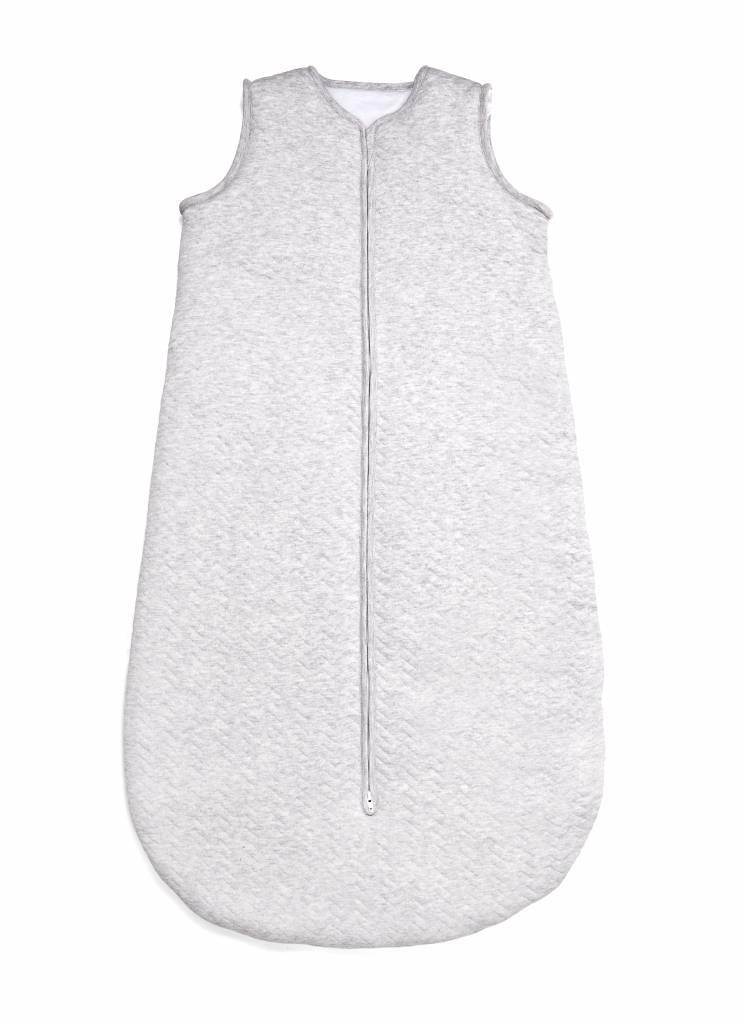 Jersey slaapzak 90cm Chevron Light Grey Melange met afritsbare mouwen-4