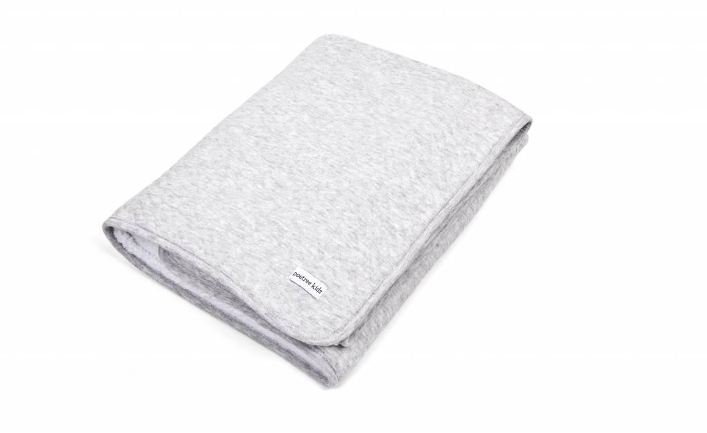 Crib blanket lined Chevron Light Grey Melange-2