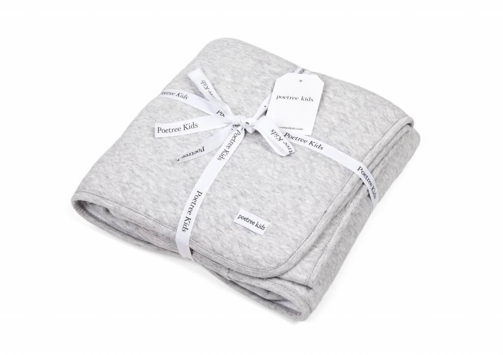 Crib blanket lined Chevron Light Grey Melange-3