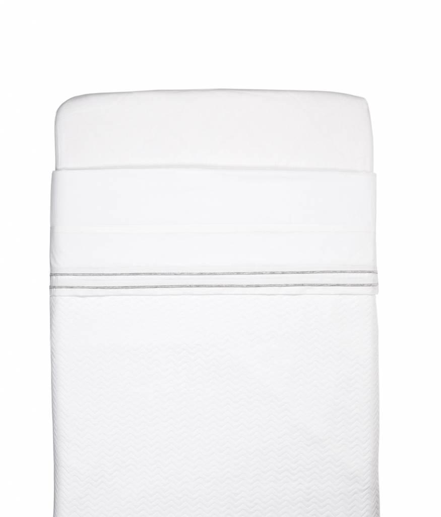 Cot Blanket lined Chevron White-3