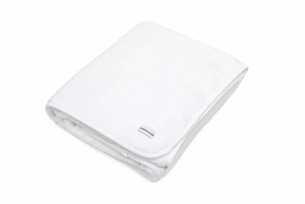 Ledikant deken gevoerd Chevron White-5