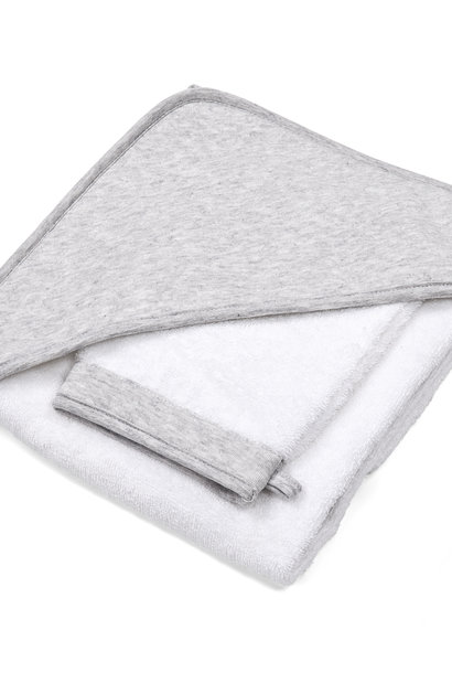 Hooded towel & washcloth Chevron Light Grey Melange