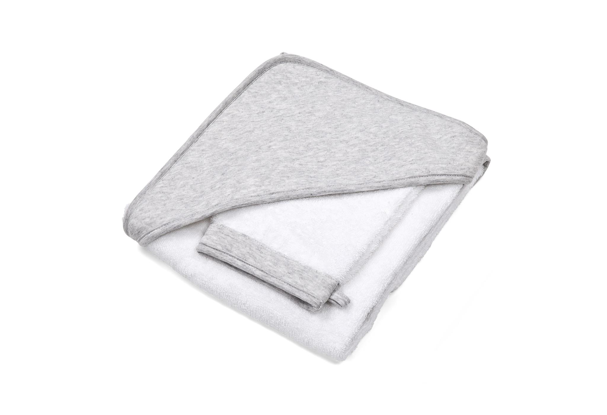 Hooded towel & washcloth Chevron Light grey melange-1
