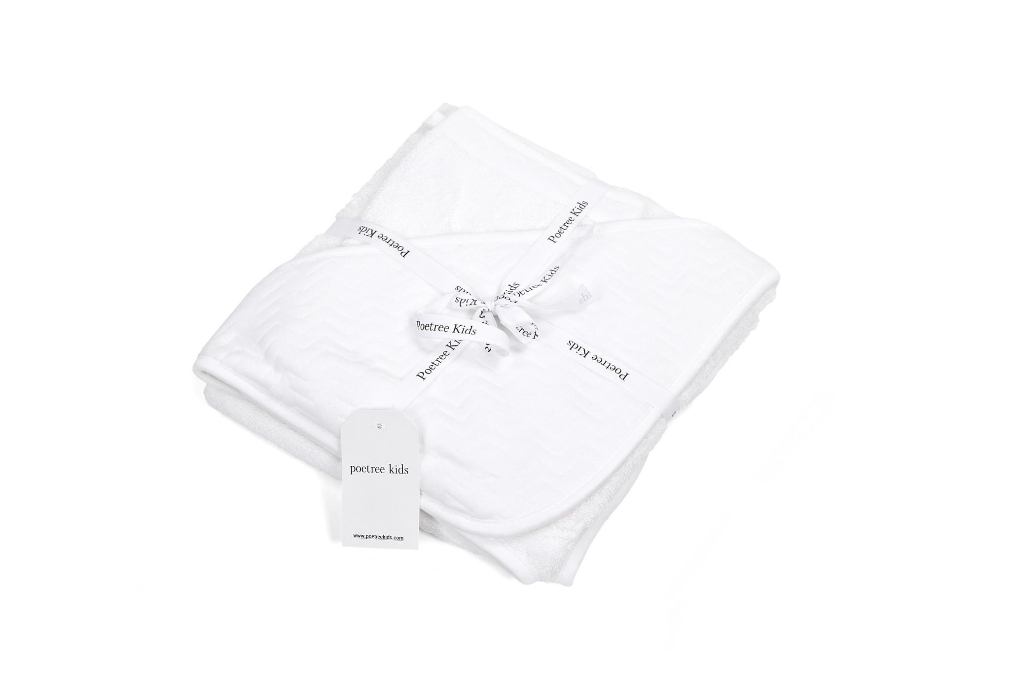Cape de bain & gant de toilette Chevron White-2