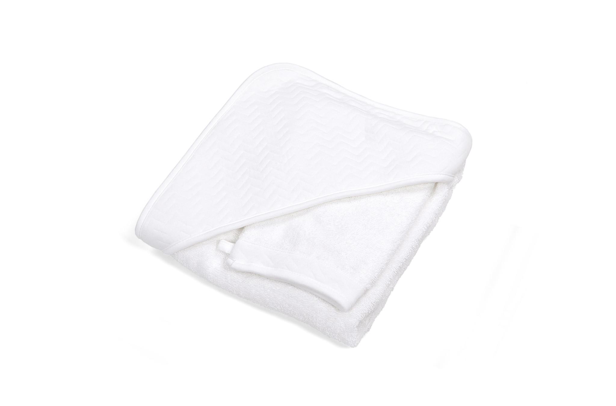 Hooded towel & washcloth Chevron White-1