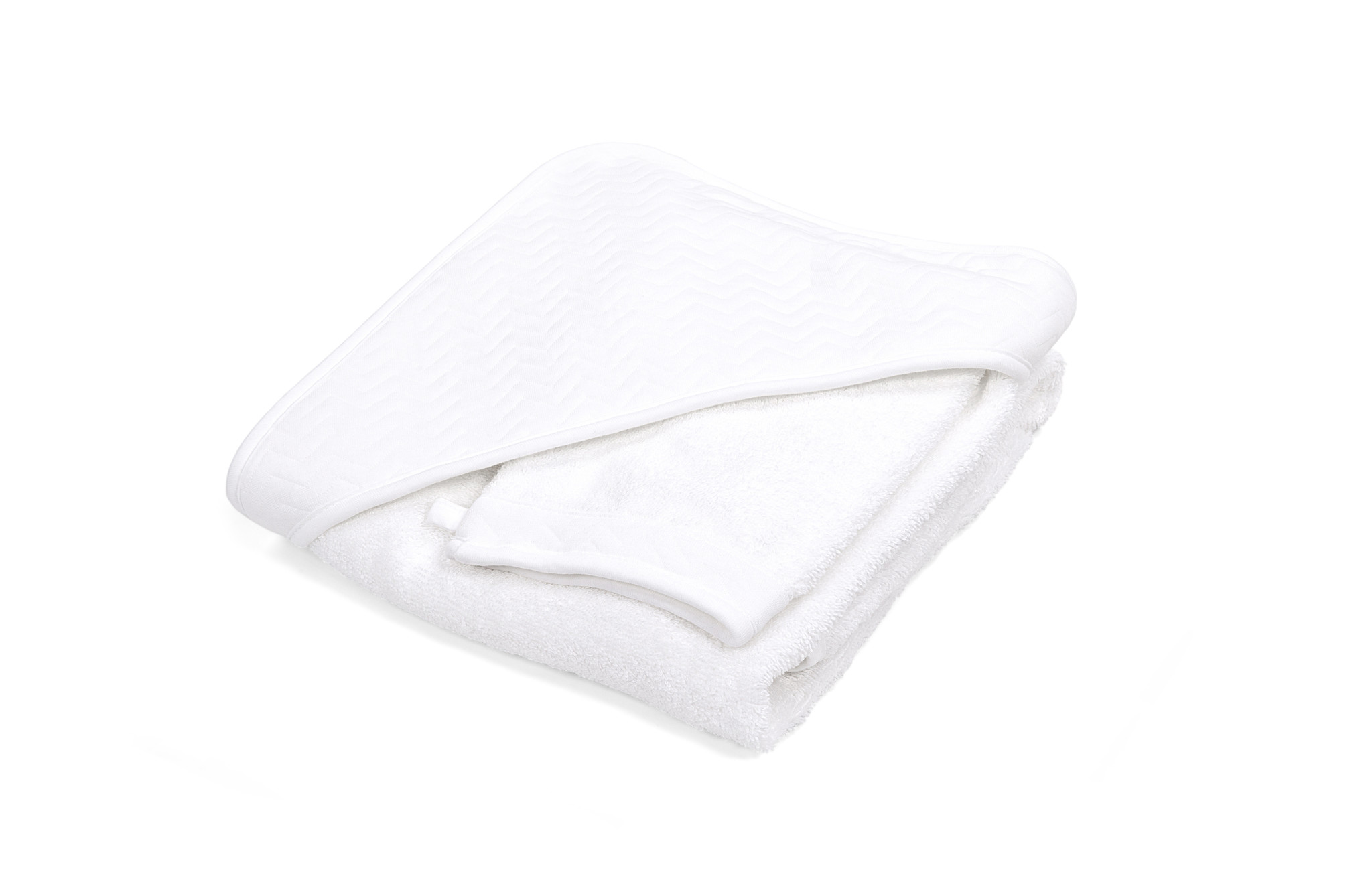 Hooded towel & washcloth Chevron White-3