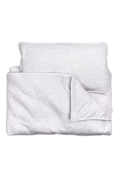 Crib / Playpen Duvet Cover & Pillow case Chevron Light grey Melange