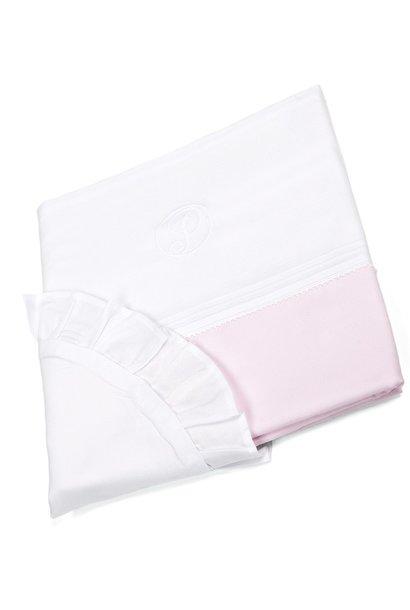 Crib/playpen duvet and pillow case Oxford Soft Pink