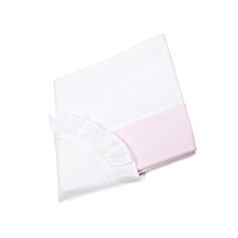 Wieg/box dekbedovertrek & kussensloopje Oxford Soft Pink-1