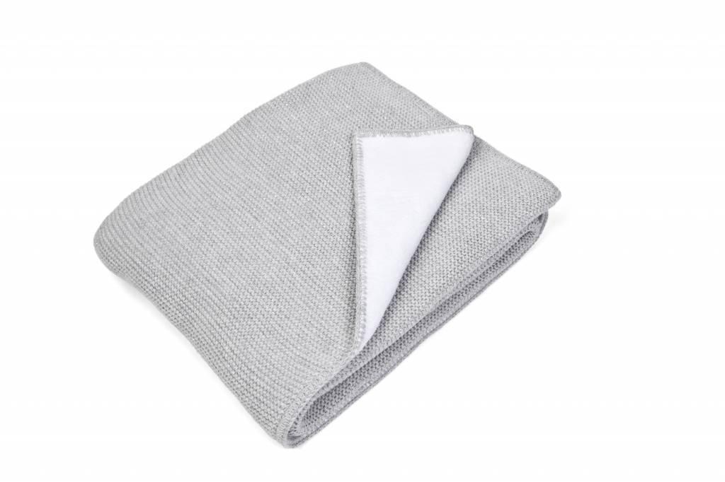 Ledikant deken gevoerd met zachte glans Light Grey Melange-1