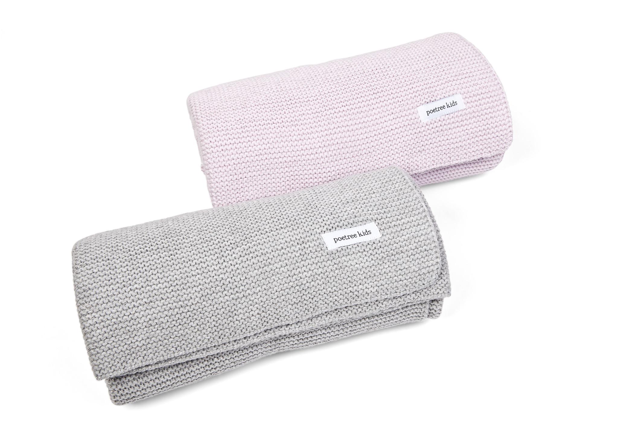Ledikant deken met zachte glans Light Grey Melange-2