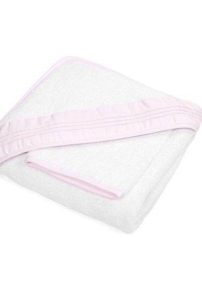 Badcape & washandje Oxford Soft Pink