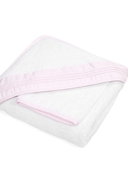 Hooded towel & washcloth Oxford Soft Pink