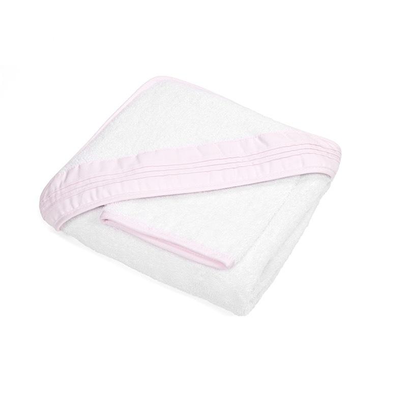 Hooded towel & washcloth Oxford Soft Pink-1