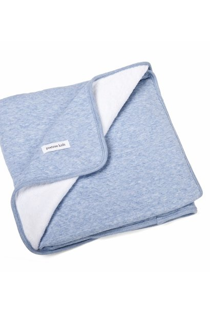 Crib blanket lined Chevron Denim Blue