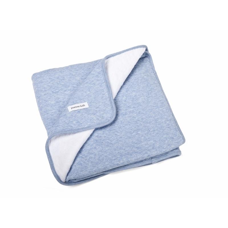 Ledikant deken gevoerd Chevron Denim Blue-1
