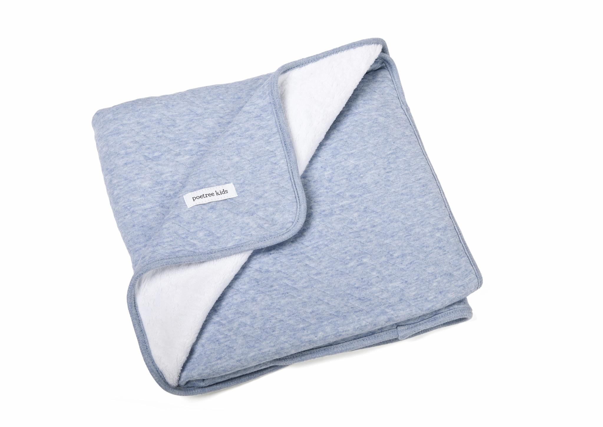 Ledikant deken gevoerd Chevron Denim Blue-3