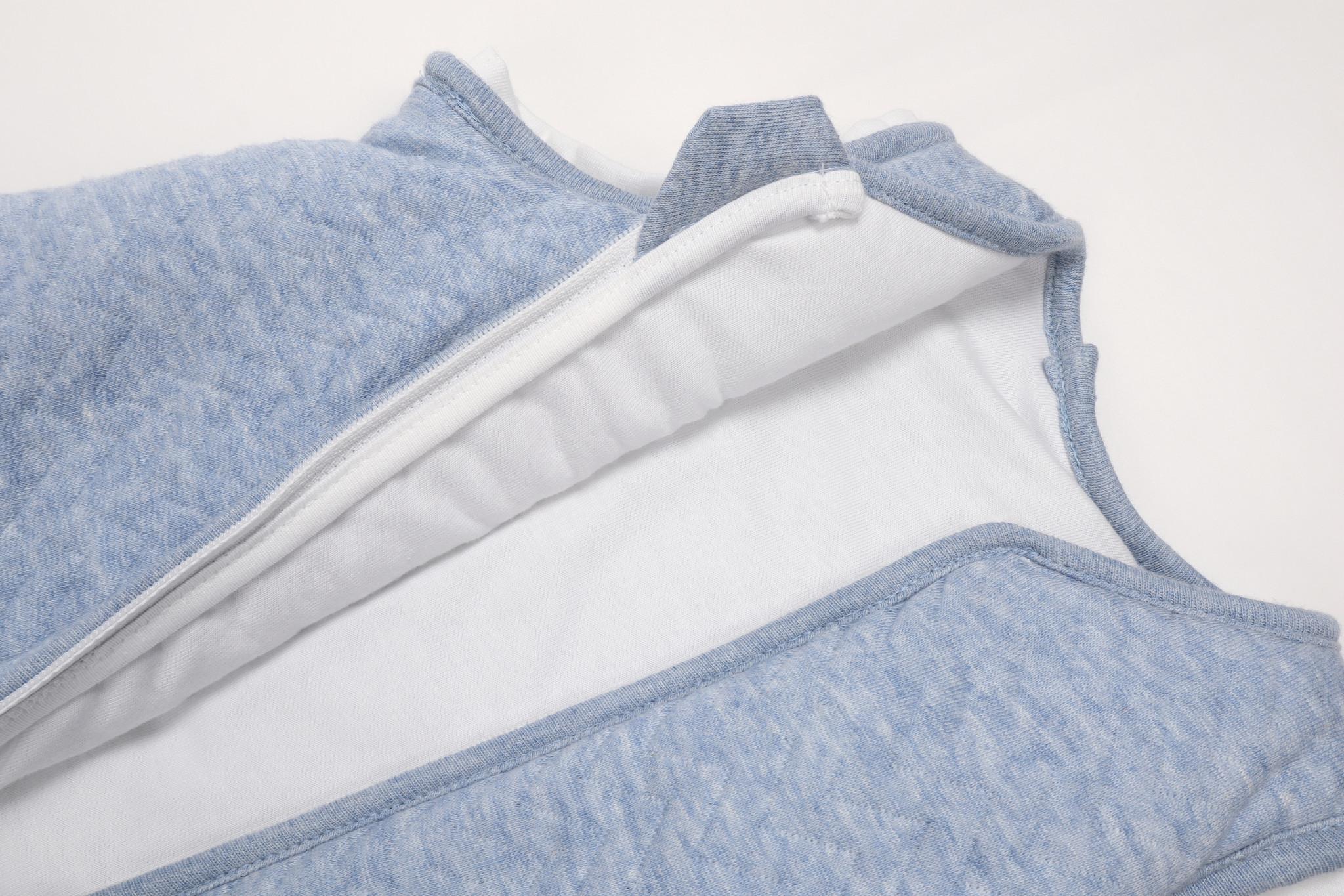Jersey slaapzak 70cm met afritsbare mouwen Chevron Denim Blue-3