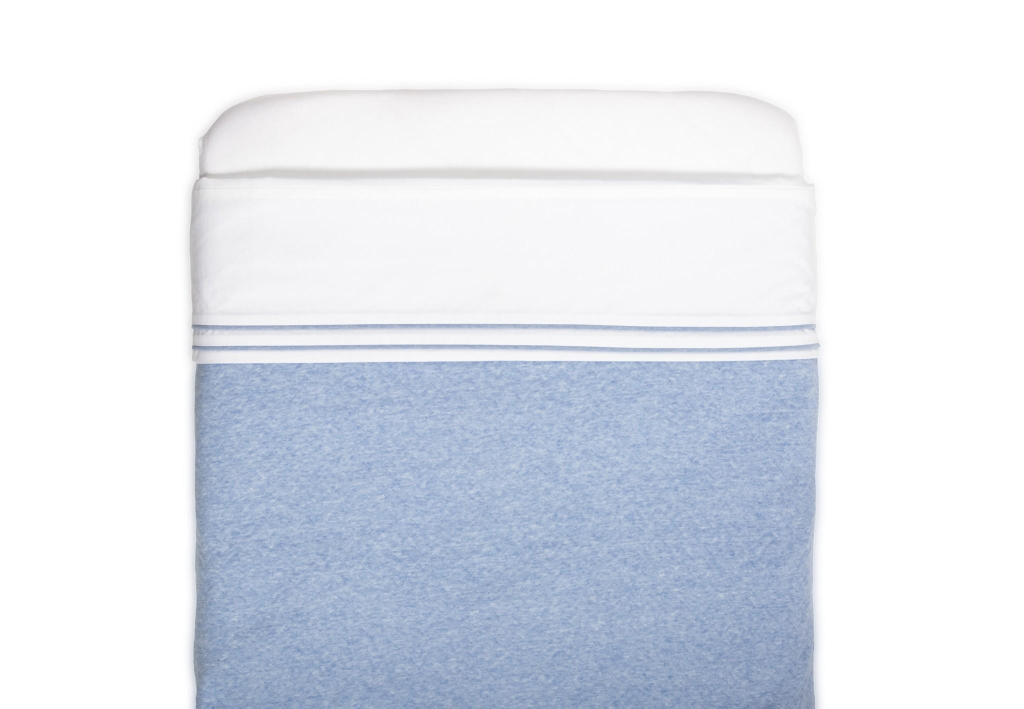 Ledikant deken gevoerd Chevron Denim Blue-2
