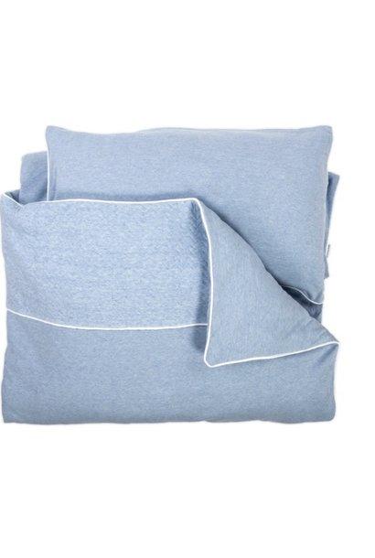 Crib / Playpen Duvet Cover & Pillow case Chevron Denim Blue